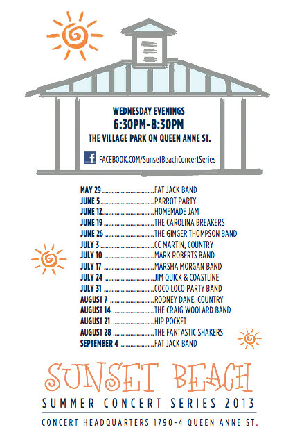 Sunset Beach Free Summer Concert Series Poster Pelican Bookstore